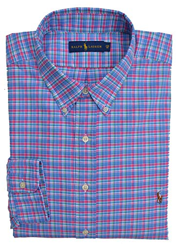 Ralph Lauren Big & Tall Hemd Sport Shirt Button Down Blau Pink Weiß Grün kariert (2XB)