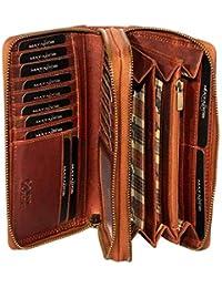 Matador Lange Damenbörse Geldbörse Portemonnaie aus Antik Weichen Braun Rinds Leder Scheintasche Geldtasche mit Doppelter Reißverschluss