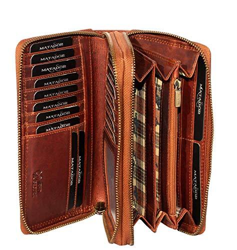 MATADOR Damen/Frauen Geldbörse RFID Schutz Portemonnaie Rinds Leder Geldtasche mit Doppelter Metall Reißverschluss viele Kartenfächer