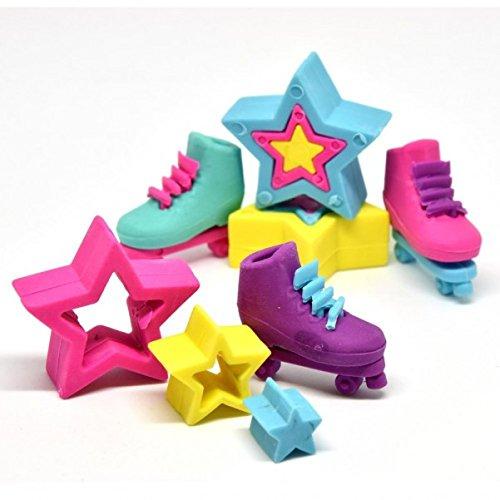 Rollschuhe und Sterne Puzzle Radiergummis im 6er Set - Stern & Rollschuh Puzzle Radierer