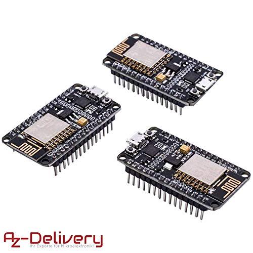 AZDelivery ⭐⭐⭐⭐⭐ 3 x Módulo WiFi NodeMCU Lua Amica V2 ESP8266 ESP-12E WiFi Placa de Desarrollo con CP2102 para Arduino con ebook Gratis!