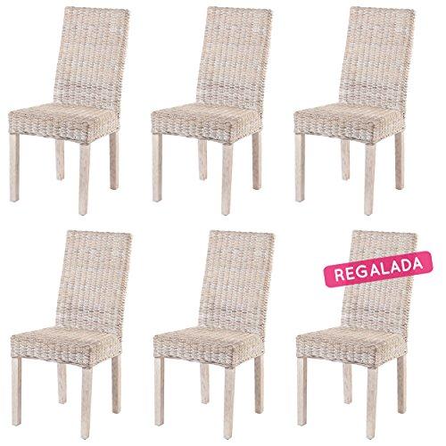 Rotin Design Rebajas : 50% Lote 6 sillas de ratán Baratas y Modernas para Comedor ZICAVO