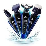 Xsj 4 in 1 Wasserdicht Elektrorasierer Set mit Lade Stand männlichen Bart Nase Haare Trimmen Gesichtsreinigung Pinsel Ecke Haar Schnell Boot Blau