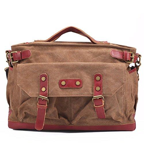 DJB/Herren Leinwand Tasche Retro Schultertasche Messenger Bag Aktentasche Kaffeebraun
