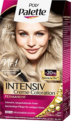 Poly Palette Intensiv Creme Coloration, 418 Helles Aschblond Stufe 3, 3er Pack (3 x 115 ml)