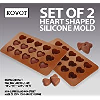 KOVOT Heart Shaped Silicone Molds - Set of 2 - Creates Heart-Shaped Chocolate, Jell-O, Candy or Ice Cubes by