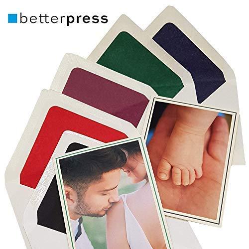 arten Faltkarten blanko Karten mit Umschlag Din A6, 105 x 148 mm auf Premium Papier mit farbigem Rahmen passend für Fotos 9 cm x 13 cm (rot) ()