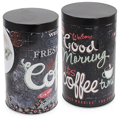 com-four 2X Kaffeedose aus Metall mit luftdichtem Verschluss, Vorratsdose für Kaffee, Kaffeepads,...