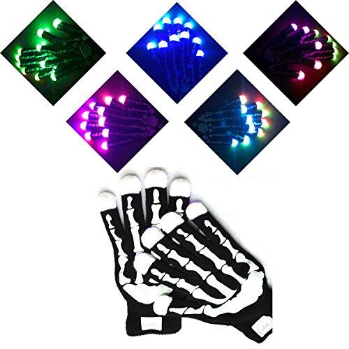 Chiulan LED leuchtende Skelett Handschuhe 6 Modus Coole Spielzeuge Gloves Tanzen blinkende Bunte Finger Weihnachtskostüm Kostüm Beleuchtung Geschenk für Mädchen Kinder Junge Halloween Dekorationen Club Weihnachten Geburtstag Show Ostern Disco Party Kinder