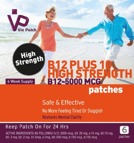51YWeNwe7TL - BEST BUY# Viepatch Vitamin B12 Plus 10 High Strength Patches 5000mcg - 6 week supply Reviews