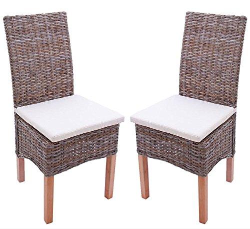 2x Esszimmerstuhl Korbstuhl Stuhl M44, Kubu-Rattan ~ mit Sitzkissen