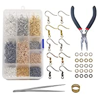 TOAOB 2250pcs Jewelry Findings Kit Includes Earring Hooks Jump Rings and Repair Tools