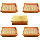 AM Lot de 5 filtres plats pour aspirateur-robot polyvalent Kärcher MV4, MV5, MV6, WD4, WD5, WD6 En remplacement du filtre plat 2.863-005.0
