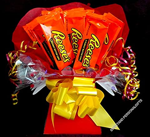 Sweety candy trees ~ Hershey Reeses Peanut Butter Cups Chocolate Bouquet ~ Personalised ~ Delivered in Patterned Gift