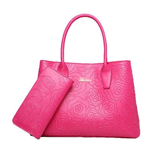 Donne Moda 2 Pezzi Rosa Impressionante Borsa Borsa Tote In Pelle Borsa A Tracolla Multicolor Red2