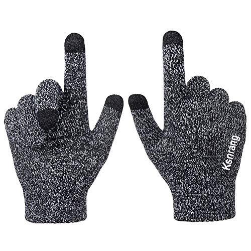 Ksnrang Winter Touchscreen Warme Handschuhe für Damen Herren Thermo Strick Wolle Gefüttert (Schwarz-Weiss, M)