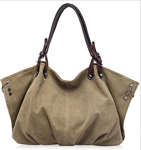 hochwertiges canvas - frauen handtasche lässig mit großer kapazität penner tasche heiß verkaufen frauen absolut trapez solide umhängetasche khaki.