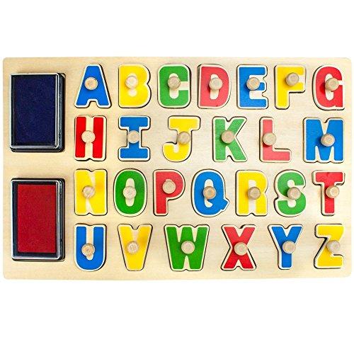 Tooky Toy Stempel Puzzle im Alphabet Design - alle Buchstaben von A-Z vorhanden - mit Stempelkissen und niedlichen Motiven ca. 29 x 21 x 2,5 cm (Alphabet 29-designs)