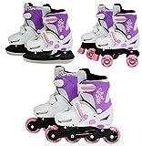 SK8 Zone Mädchen Rosa 3in1 Roller Klingen Inline Rollschuhe Verstellbare Größe Kinder Pro Kombo Multi Eislaufen Stiefel Neu - Small 9-12 (27-30 EU)