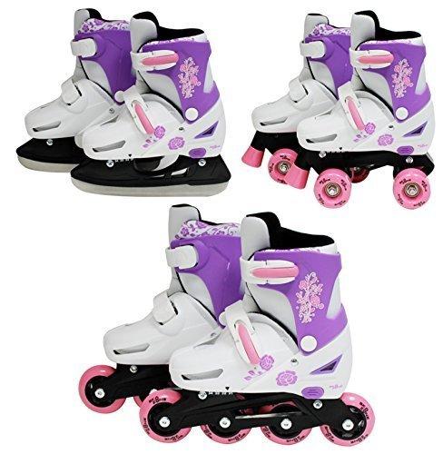 SK8 Zone Mädchen Rosa 3in1 Roller Klingen Inline Rollschuhe Verstellbare Größe Kinder Pro Kombo Multi Eislaufen Stiefel Neu - Medium 13-3 (31-34 EU)