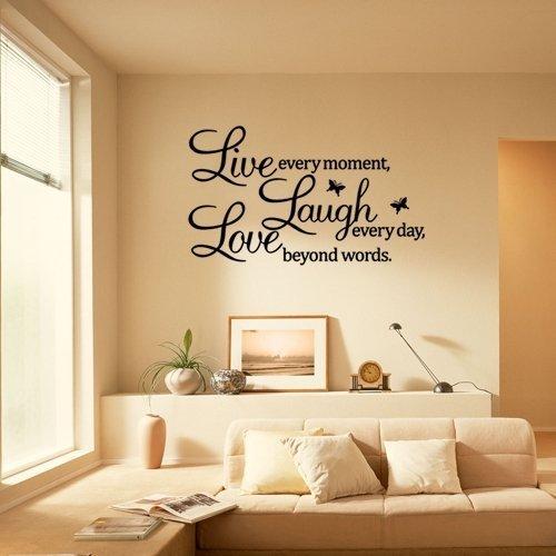 He Yang LIVE LAUGH LOVE Wandtattoo Wandaufkleber Wandsticker Wandbilder Deko. PVC
