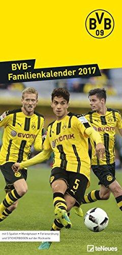 BVB Kalender 2017 - Borussia Dortmund Fankalender, teNeues Fußballkalender, BVB Familienplaner - 23 x 48 cm