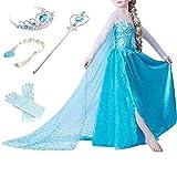 Prinzessin Kostüm Kinder Glanz Kleid Mädchen Weihnachten Verkleidung Karneval Party Halloween Fest (100 (Körpergröße 100cm), Elsa #01 und 4 Zubehör)