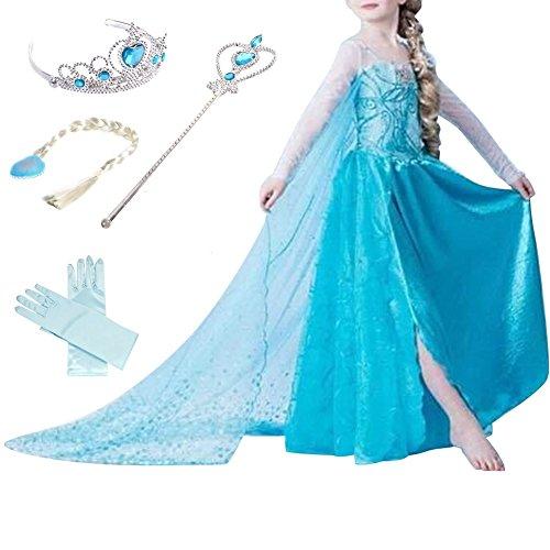 inder Glanz Kleid Mädchen Weihnachten Verkleidung Karneval Party Halloween Fest (130(Körpergröße 130cm), Elsa #01 und 4 Zubehör) (Party Kostüme Für Mädchen)