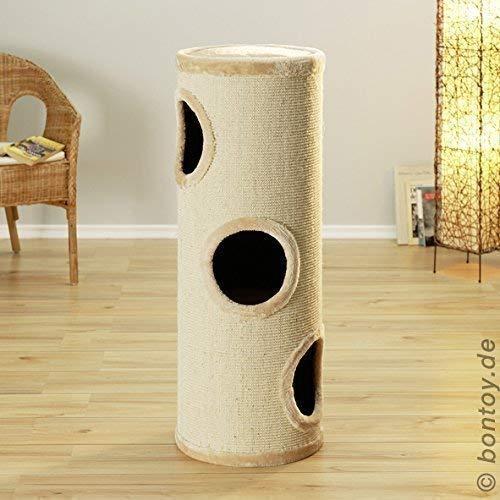 Produktabbildung von Bontoy Katzenturm Buddy mit 3 Höhlen Creme 99cm