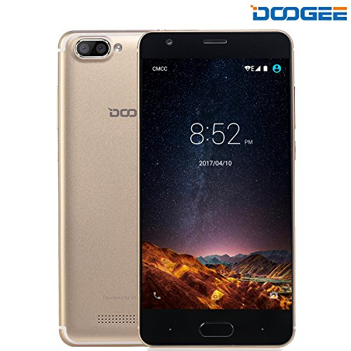 Smartphone ohne vertrag, DOOGEE X20L Dual SIM 4G Android 7.0 handy, 5 Zoll HD Display, MT6737 Quad Core, 2 RAM + 16GB ROM – 2.0MP + 5.0MP Kamera – Champagner Gold