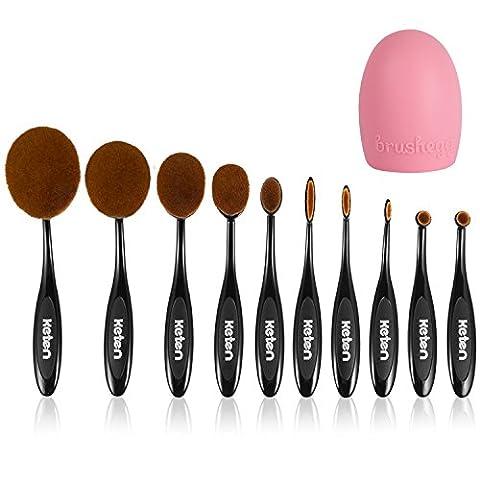 Keten Oval Make-up Pinsel 10 Stück weiche Zahnbürste Grundierungscreme Pinsel Concealer Kosmetik Puderpinsel Make