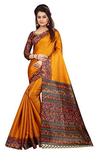Vinayak Trendz Cotton Silk Saree With Blouse Piece (Saree Sale Mkd_Gajri_Free Size)