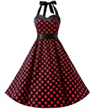 Dresstells Halter 50s Rockabilly Polka Dots Dots Dress Petticoat Pleated Skirt Black Red Dot XS