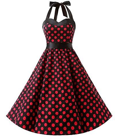 Dresstells Halter 1950s Rockabilly Polka Dots Dress Petticoat Pleated Skirt Black Red Dot M