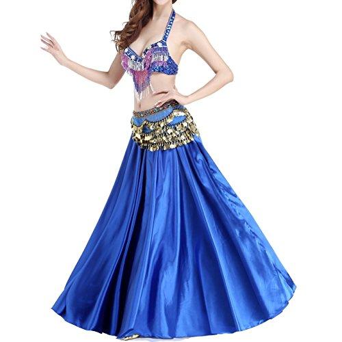 Frauen Bauchtanz Kostüm Fee Perle Sequined Bauchtanz Satin Long Swing Rock , Blue , M (Bauchtanz Kostüme Männer)
