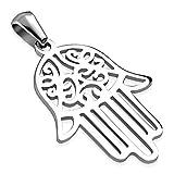 Zense–Colgante para hombre con mano de Fátima y Hamsa en medallón acero zp0217