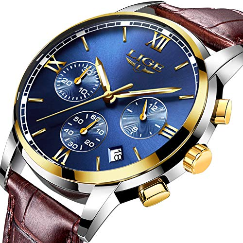 Relojes para hombre analógico cuarzo marrón cuero genuino impermeable reloj lujo marca LIGE negocio moda casual deporte cronógrafo oro azul reloj