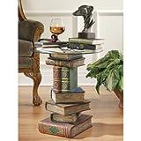Design Toscano Bücherstapel, Skulpturaler Büchertisch mit Glasplatte