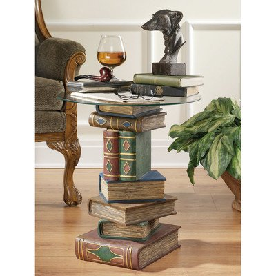 Design Toscano Stacked Volumes Sculptural Glass-Topped Book Table