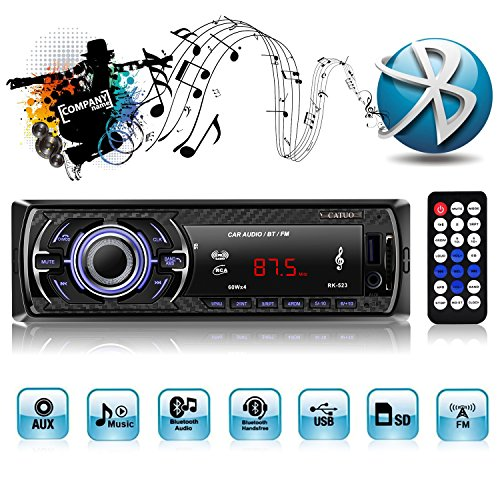 Auto Radio MP3, Autoradio USB/SD/AUX Receiver mit Bluetooth USB/SD/Audio-Empfänger/MP3-Player/UKW-Radio von Kidcia Apple iPod/iPhone Control, Freisprechfunktion und integriertes Mikrofon Standard Einbaugröße Digitaler Medienempfänger (Digital Auto Stereo)