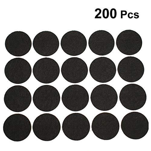 SUPVOX Runde Filzgleiter Selbstklebende Rutschfest Möbelfüße Bodenschutz für Tisch Stuhl 200 Stücke 20MM (Schwarz) - Polyester Runden Stuhl