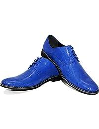 Modello Brusso - Cuero Italiano Hecho A Mano Hombre Piel Azul Zapatos Vestir Oxfords - Cuero Cuero repujado - Encaje
