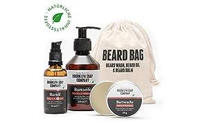 Bartpflege-Set: Beard Bag ✔ bestehend aus Bartseife, Bartöl, Bartwachs ✔ Naturkosmetik der BROOKLYN SOAP COMPANY ® ✔ Geschenkidee als Geschenk für Männer und als Reiseset für den modernen Mann