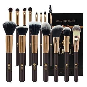 Set de maquillaje FEIYAN 15pcs con bolsa de PU y soplo de polvo gratis + huevo cepillo