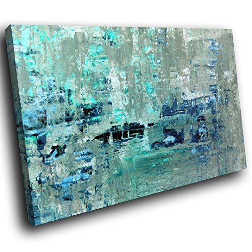AB1465A gerahmte Leinwanddruck Bunte Wand-Kunst - Teal Grau Blau Cool - modernes abstraktes Wohnzimmer Schlafzimmer Bild Stück Wohnkultur Interior Design Einfach Hang Guide - Grau-wand-kunst Teal