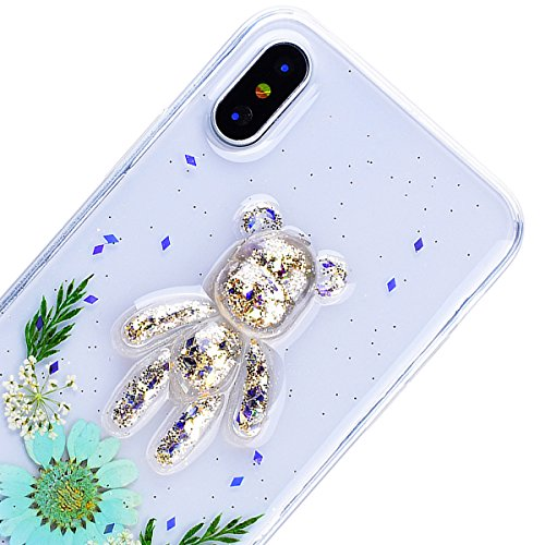 WE LOVE CASE Coque iPhone X, Transparent Souple Gel Coque iPhone X Silicone Paillette Glitter Motif Fleur Ours Fine Coque Girly Resistante, Coque de Protection Bumper Officielle Coque Apple iPhone X M Menthe