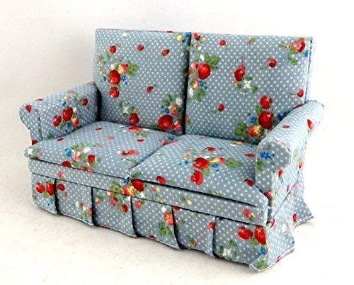 Melody Jane Dolls Houses Puppenhaus Miniatur Wohnzimmer Möbel 2-Sitzer blau Chintz Sofa Loveseat