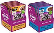 Whiskas Kitten (2-12 Months) Wet Cat Food, Chicken in Gravy, 6 Pouches (6 x 85g) & Whiskas Kitten (2-12 Mo