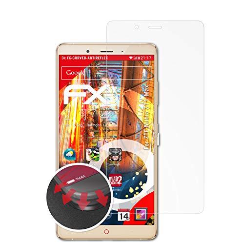 atFolix Schutzfolie passend für ZTE Nubia Z11 Max Folie, entspiegelnde & Flexible FX Bildschirmschutzfolie (3X)