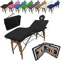 Vivezen Table de massage pliante 4 zones en bois avec panneau Reiki + accessoires et housse de transport - Neuf coloris - Norme CE